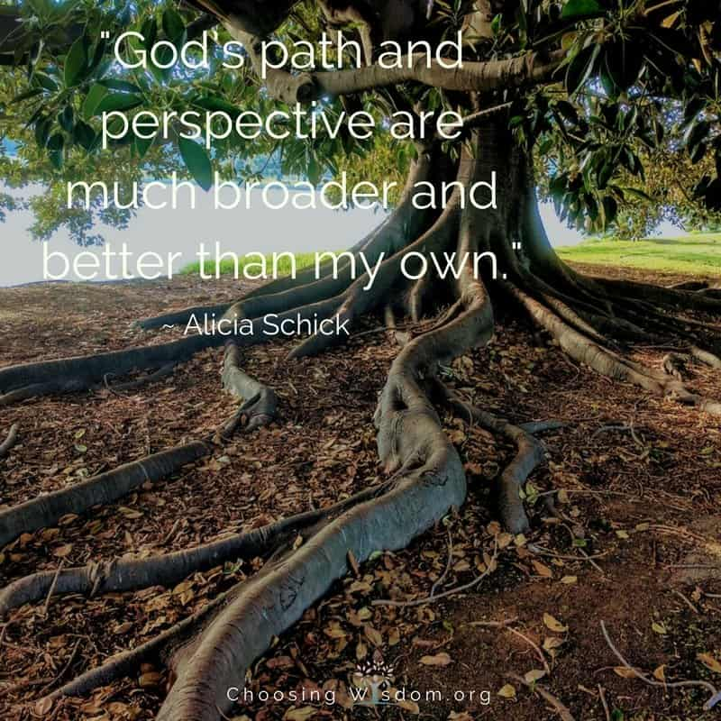God's path and perspective are much broader and better than my own.