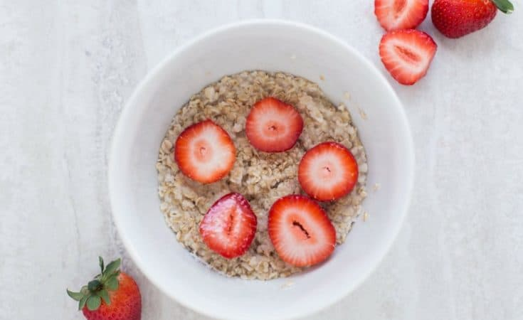Bowl of strawberries and oatmeal